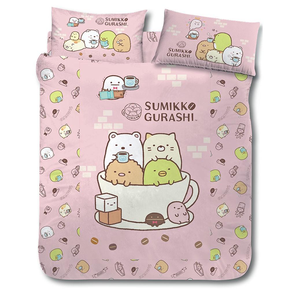 角落小夥伴 角落咖啡杯 粉紅 單人 雙人 床包組 薄被套 涼被 冬夏兩用被 四件式 三件式