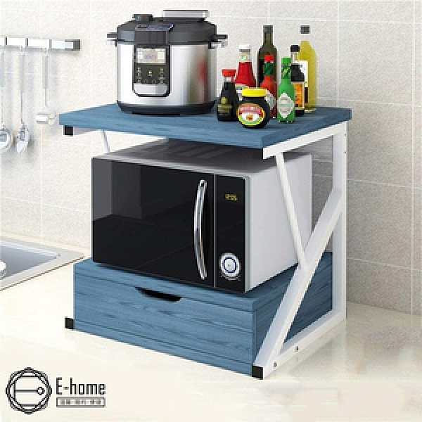 E-home K型廚房抽屜電器收納置物架-兩色可選藍色
