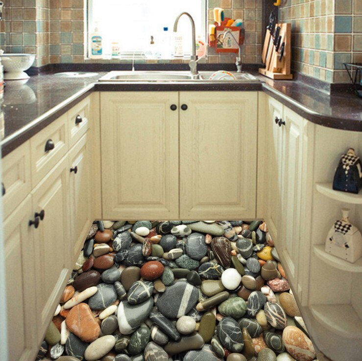 DT4563D防滑地板貼紙 彩色鵝卵石 房門浴室廚房防水地貼裝飾1入