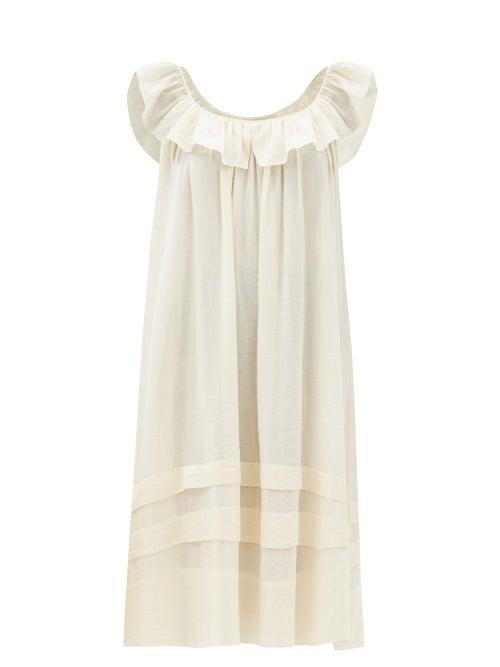 Loup Charmant - Cirrus Ruffled Organic-cotton Midi Dress - Womens - Cream