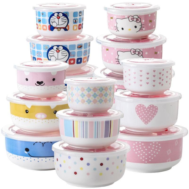 【饭盒】陶瓷保鮮碗三件套微波爐飯盒帶蓋冰箱便當密封餐具宿舍大號泡面碗