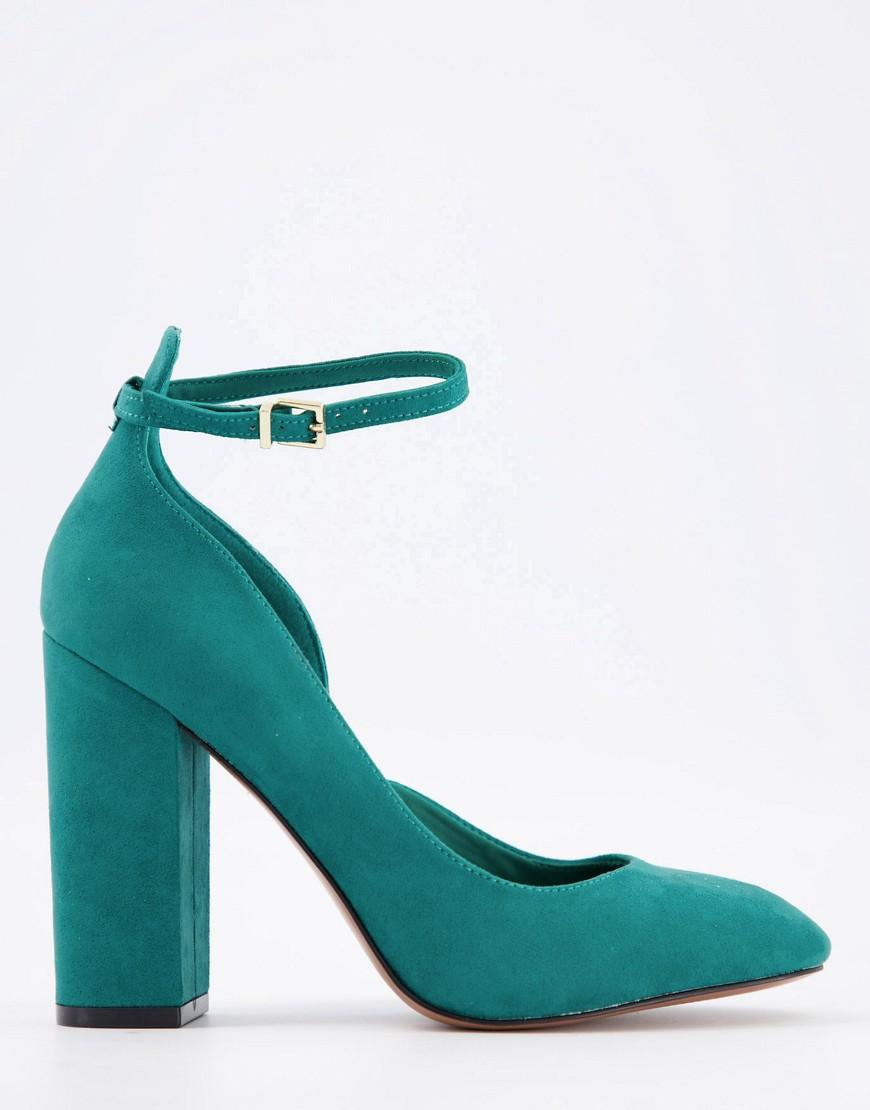 ASOS DESIGN Placid high block heels in teal-Blue