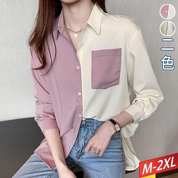 翻領口袋撞色拼接上衣(2色) M~2XL【314642W】【現+預】-流行前線-