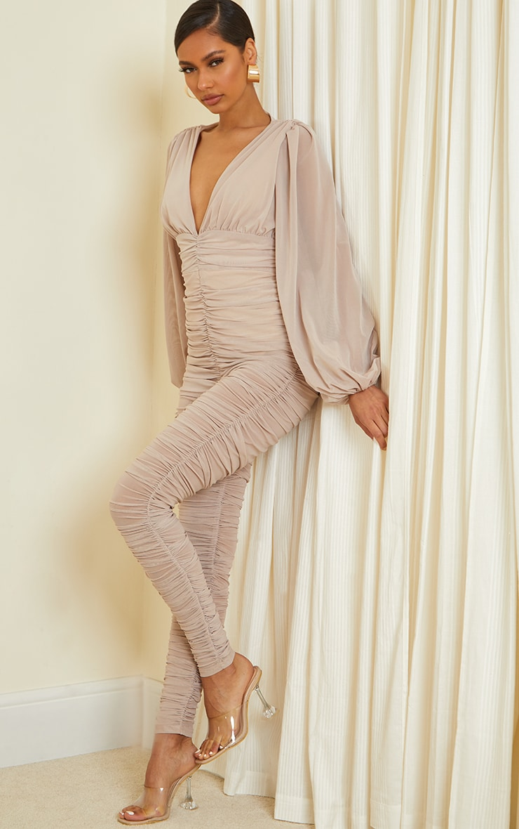 Stone Ruched Mesh Balloon Sleeve Plunge Jumpsuit