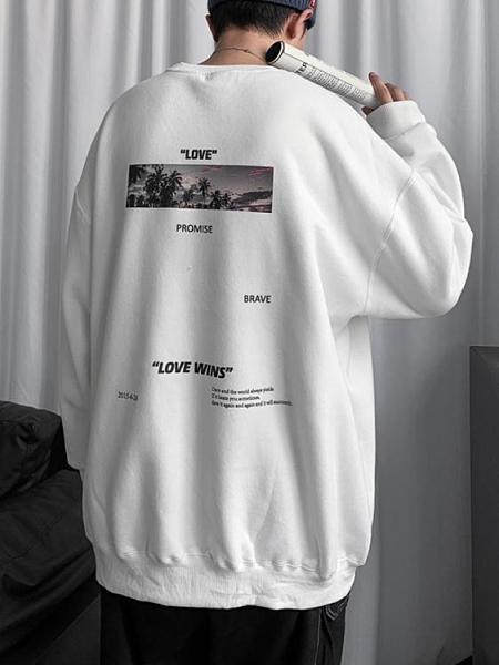 圓領衛衣男加絨韓版潮流ins寬鬆百搭秋冬季厚上衣服2021新款外套 韓國時尚週