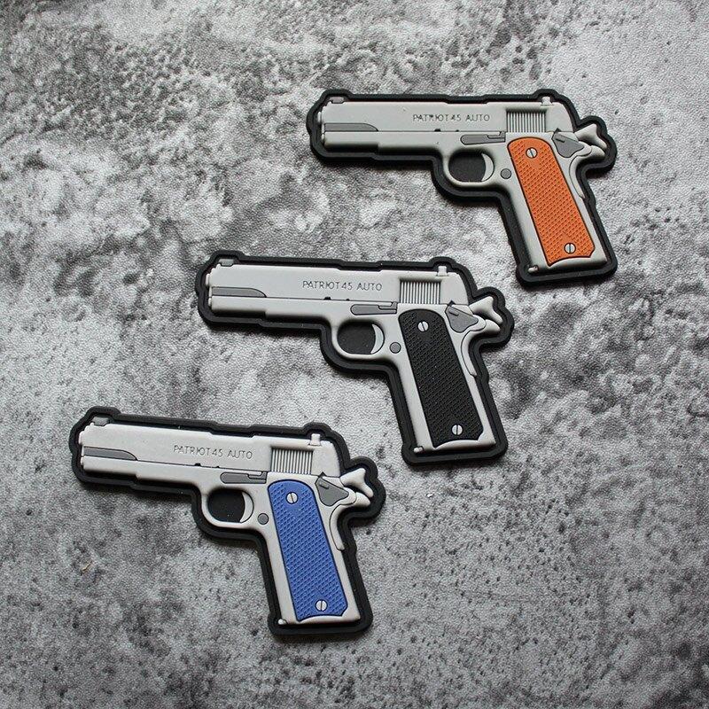 M1911武器技能章PVC塑膠魔術章魔術貼臂章環保塑料膠章士氣章徽章1入