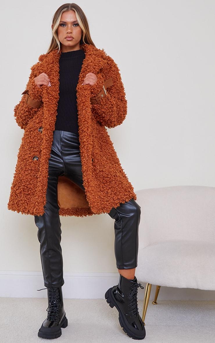 Camel Curly Faux Fur Coat
