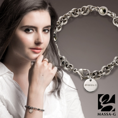 MASSA-G【IRIS】艾莉斯金屬鍺錠白鋼手鍊