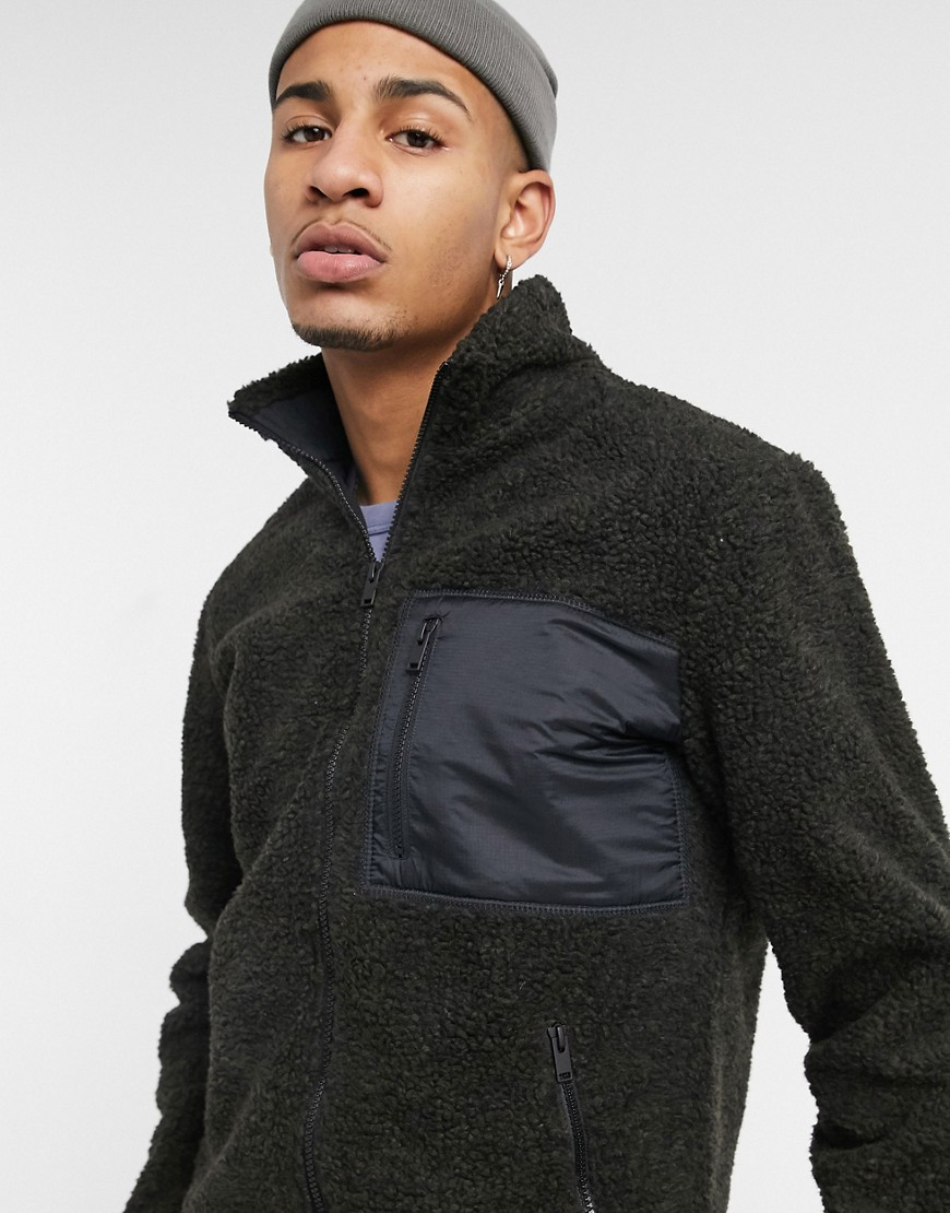 Selected Homme fleece in borg with zip in dark green