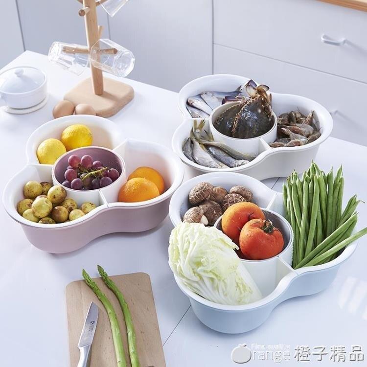 家用雙層洗菜盆洗菜籃子火鍋拼盤三角蔬菜拼盤瀝水籃水果盤