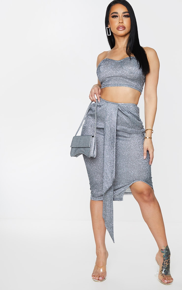 Shape Charcoal Glitter Drape Ruched Midi Skirt