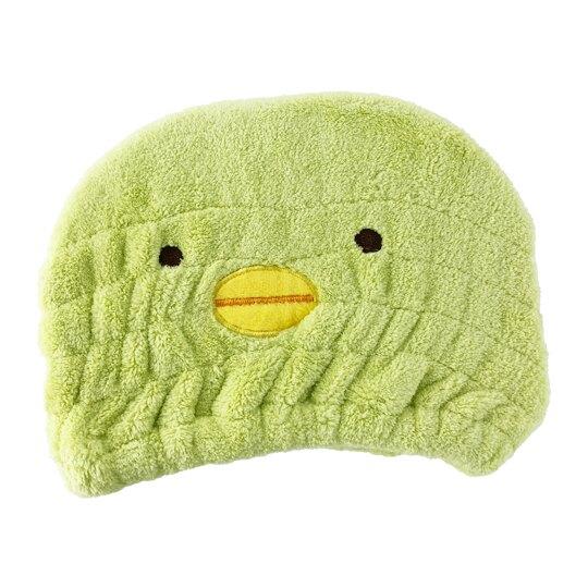 小禮堂 角落生物 企鵝 造型絨毛鬆緊浴帽 快乾浴帽 吸水浴帽 擦髮巾 (綠 大臉)
