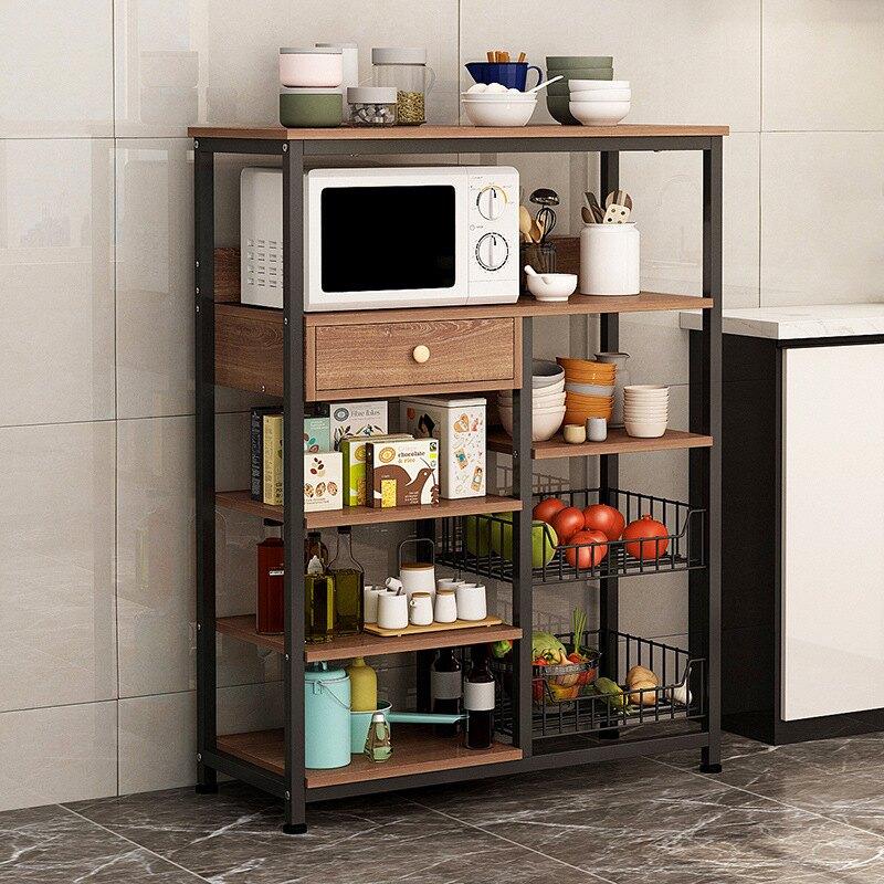 【現貨】廚房置物架微波爐調味料落地式多層省空間收納架子廚房碗柜 【交換禮物】