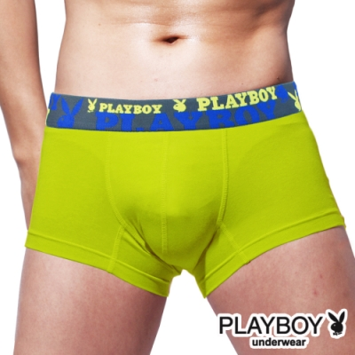 男內褲 PLAYBOY 素色彈力嫘縈沁涼合身四角褲 平口褲-單件(綠)