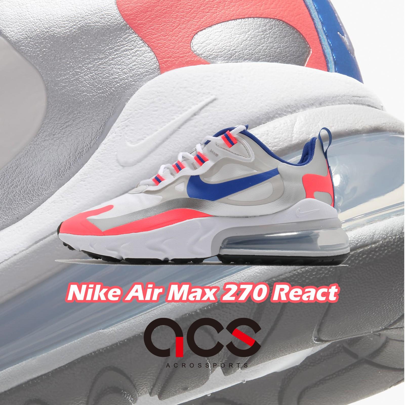 Nike 休閒鞋 Air Max 270 React 白 藍 女鞋 氣墊 厚底 增高 【ACS】 CW3094-100