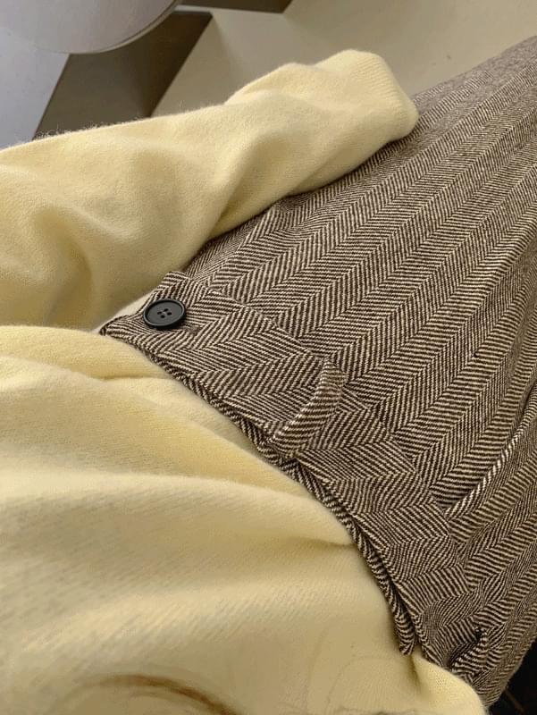 韓國空運 - Herringbone Belt Slacks 長褲