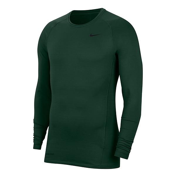 NIKE AS M NP TOP WARM LS CREW 上衣運動上衣男款緊身衣訓練慢跑 綠 CV3047337