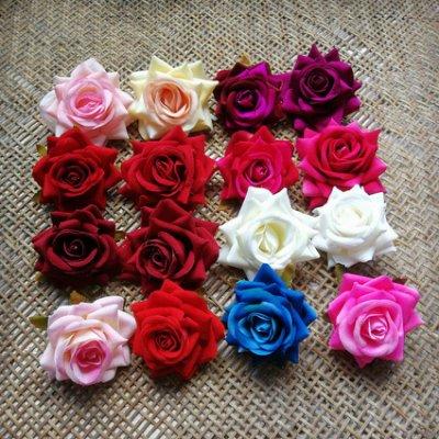 淘淘樂-DIY仿真工藝絨布玫瑰新娘花頭婚慶擺飾裝飾花朵絹花胸花拱門花飾