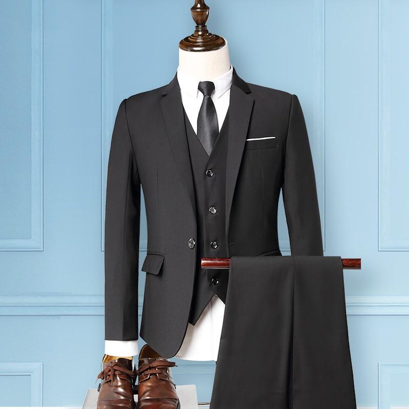 新郎西服套裝男士三件套修身韓版結婚禮服商務正裝英倫格子西裝 Zshao28