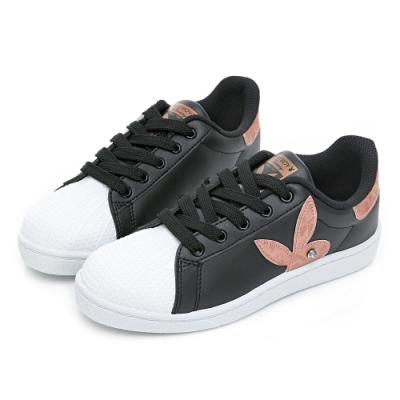 PLAYBOY 簡約兔頭休閒貝殼鞋2.0-黑玫瑰金-Y6726CH
