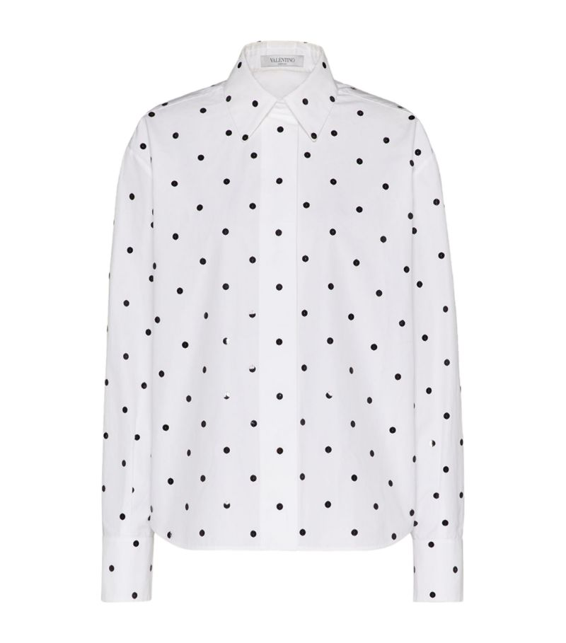 Valentino Embroidered Compact Poplin Shirt