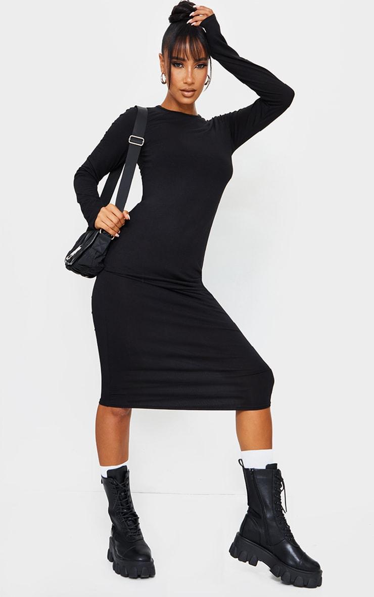 Black Scoop Neck Jersey Long Sleeve Midi Dress