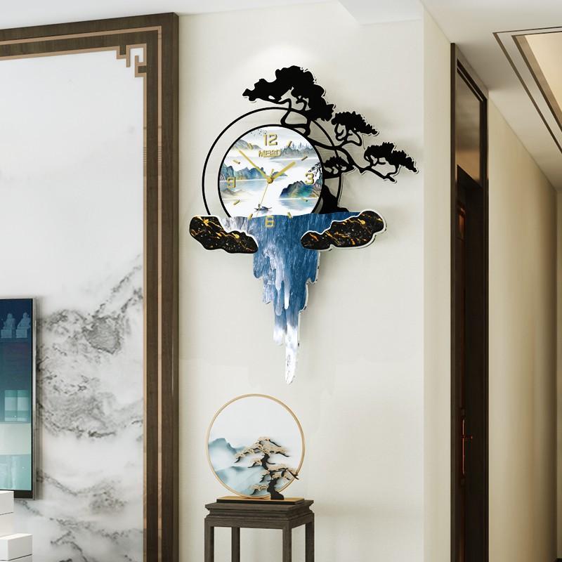 新中式鐘表家用客廳創意大氣時尚簡約掛鐘中國風掛墻藝術裝飾時鐘(品質款)