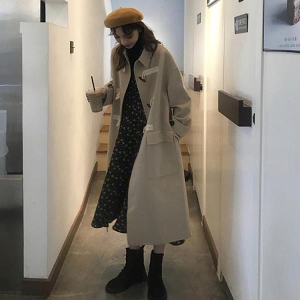 限時特銷 冬季韓版寬松中長款復古顯瘦加棉加厚毛呢外套小個子呢子大