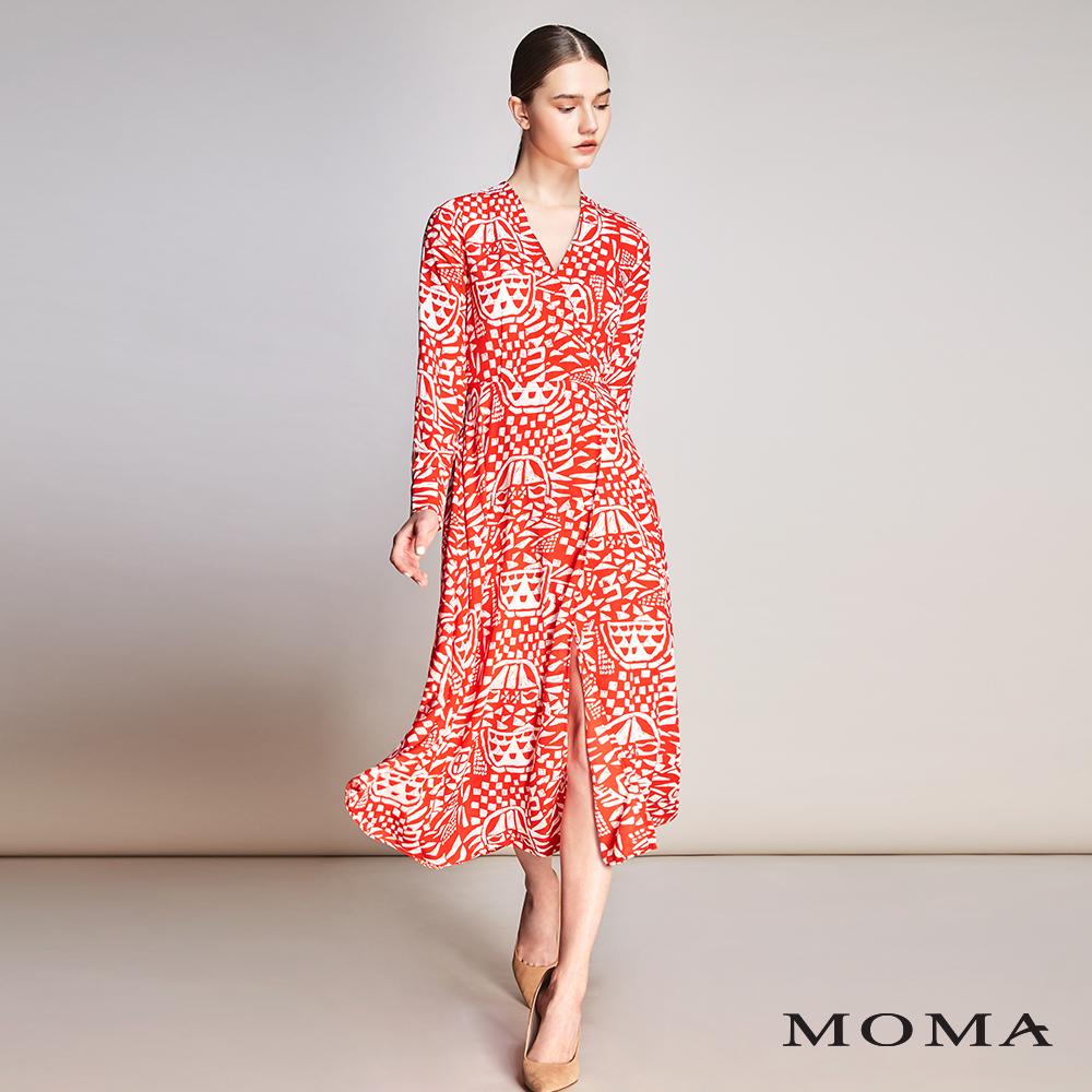 MOMA(01D021)抽象部落圖紋長洋裝