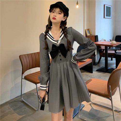 韓國海軍風蝴蝶結時尚領結百褶長袖洋裝