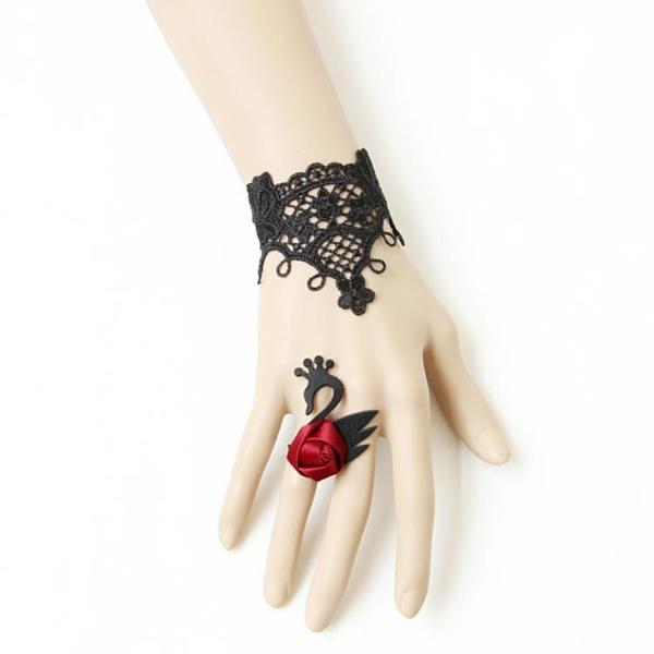 熱銷新品 超美復古宮廷風暗黑系蕾絲玫瑰花手鏈戒指套裝手飾女ins小眾設計