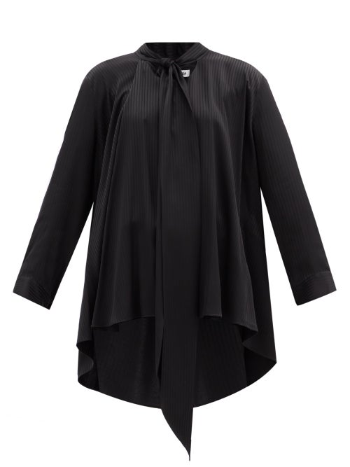 Balenciaga - Pussy-bow Striped Satin Blouse - Womens - Black
