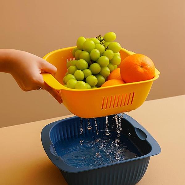 菜籃 雙層塑料瀝水籃水果盤洗菜盆廚房家用創意筐客廳果盤籃子菜盆菜籃【快速出貨八折鉅惠】