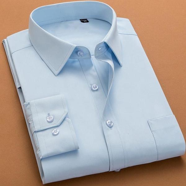 夏季男士長袖襯衫修身正裝商務白襯衣休閒韓版潮流職業短袖黑寸衫 安雅家居館