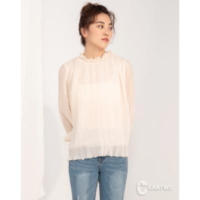 CANTWO荷葉領壓紋褶型雪紡上衣-二色