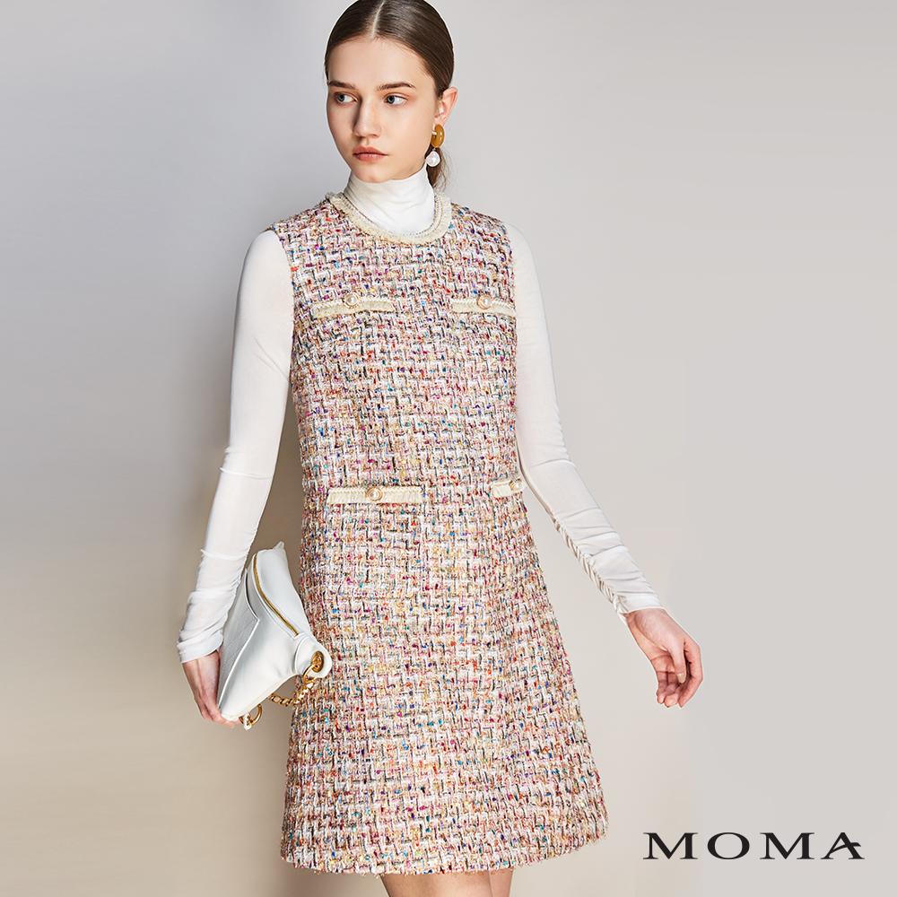 MOMA(01D044)跳色毛呢格紋背心裙