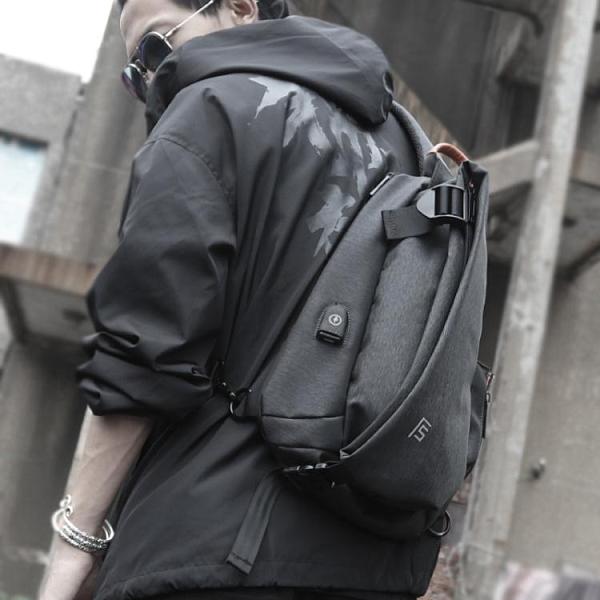 側背包男斜背包潮牌學生休閒胸包運動男士包包多功能背包韓版R1R0 618促銷