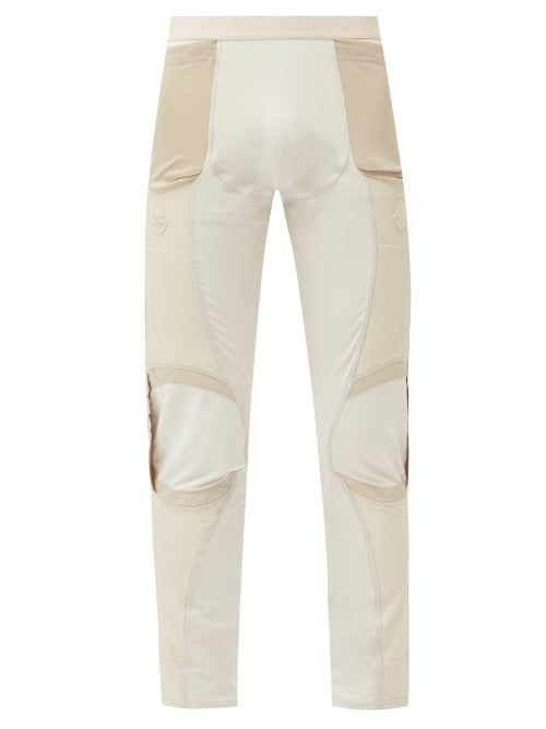 6 Moncler 1017 ALYX 9SM - Logo-patch Panelled Stretch-jersey Leggings - Mens - Cream
