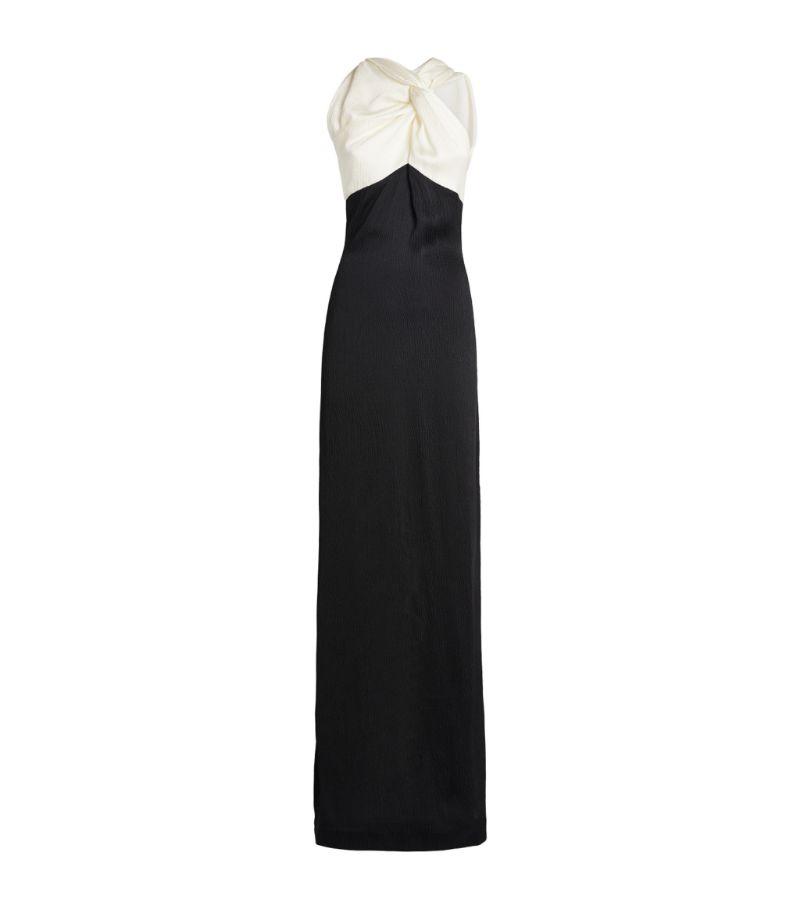 Roland Mouret Hammered Silk Twist-Neck Gazella Gown