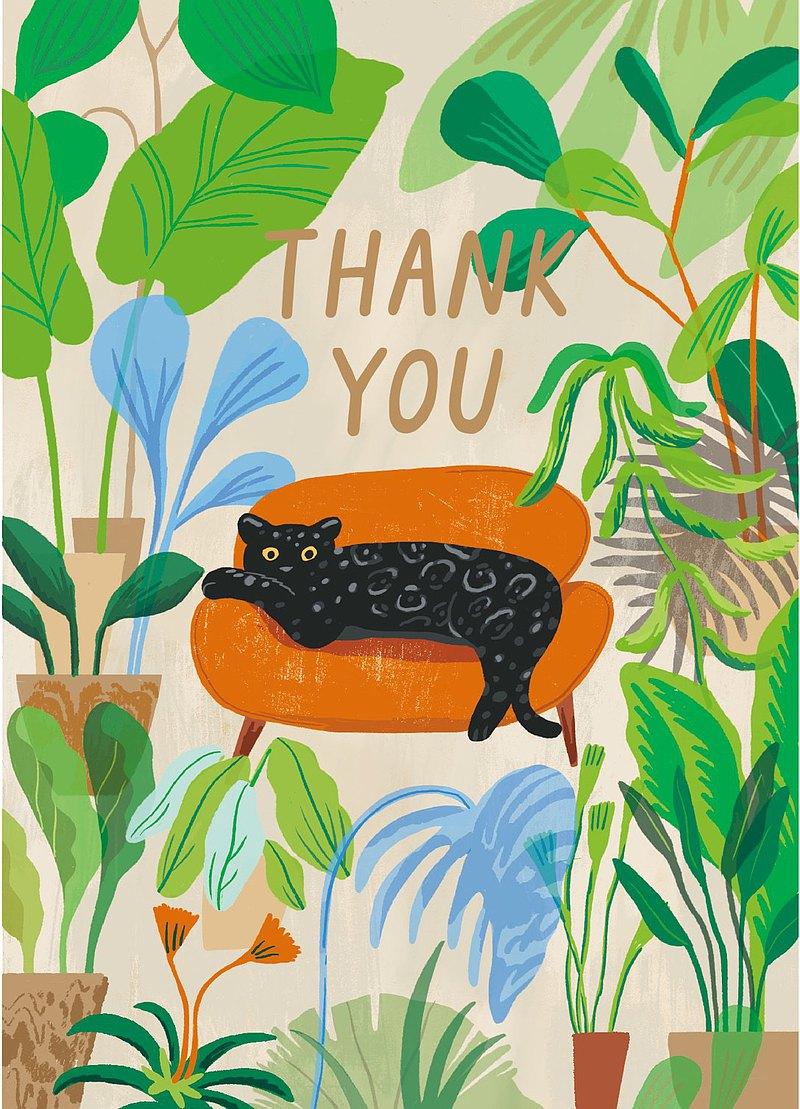 插畫明信片-慵懶浸在軟沙發-黑豹