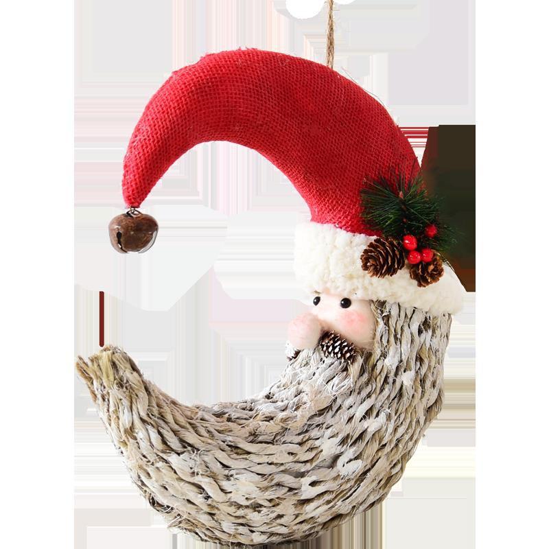 【全館免運】復古麻繩圣誕節胡子老人裝飾品掛飾 圣誕場景布置創意裝扮小公仔