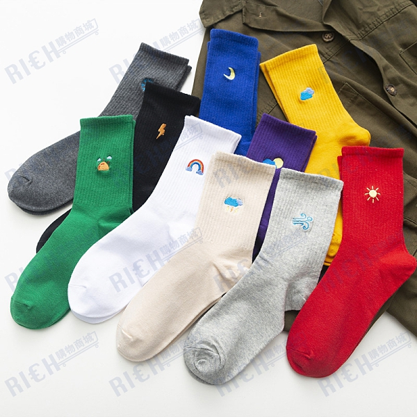 襪子女中筒彩虹天氣刺繡ulzzang學生長襪可愛韓國運動棉襪春季潮