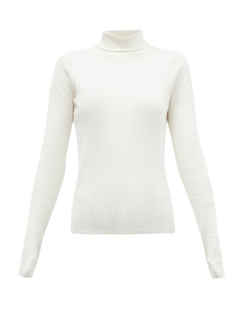 Reebok X Victoria Beckham - Roll-neck Ribbed Wool-blend Top - Womens - Ivory