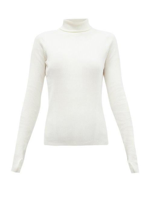 Reebok X Victoria Beckham - Roll-neck Ribbed Wool-blend Top - Womens - Ivory