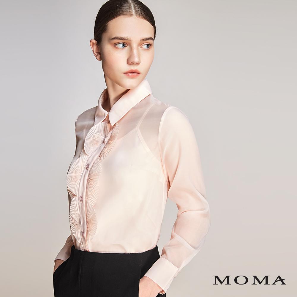 MOMA(01G027)扇形壓褶烏干紗上衣