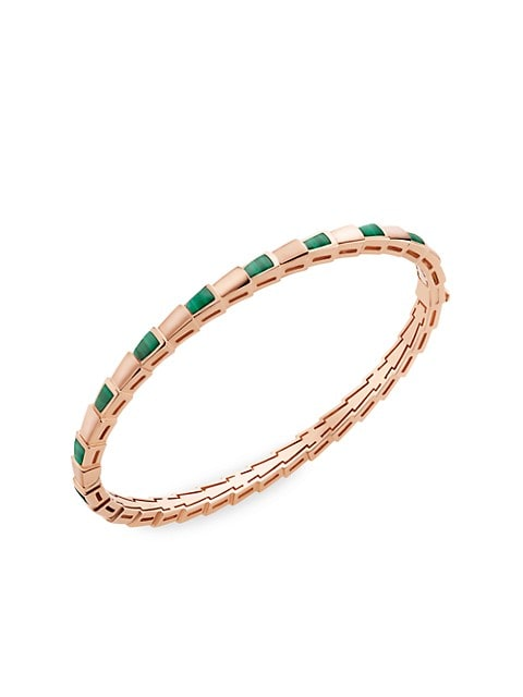 Serpenti Viper 18K Rose Gold & Malachite Hinged Bangle Bracelet