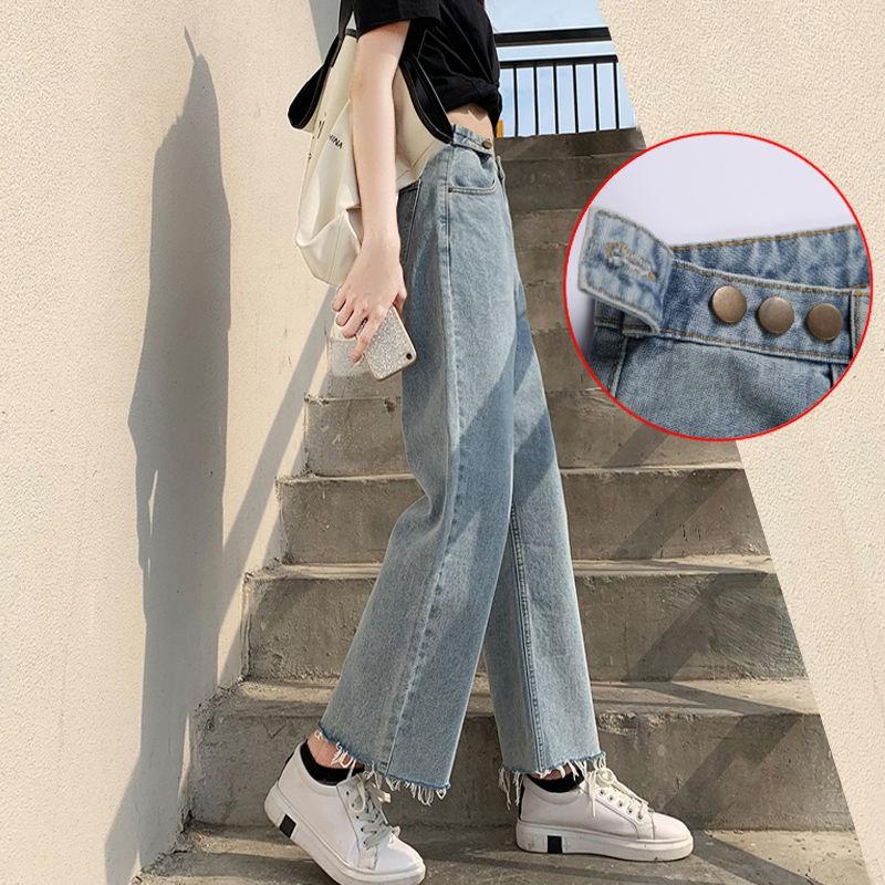 [精選牛子褲]春季新款高腰牛仔褲女寬松韓版學生復古顯瘦直筒褲闊腿九分褲子潮