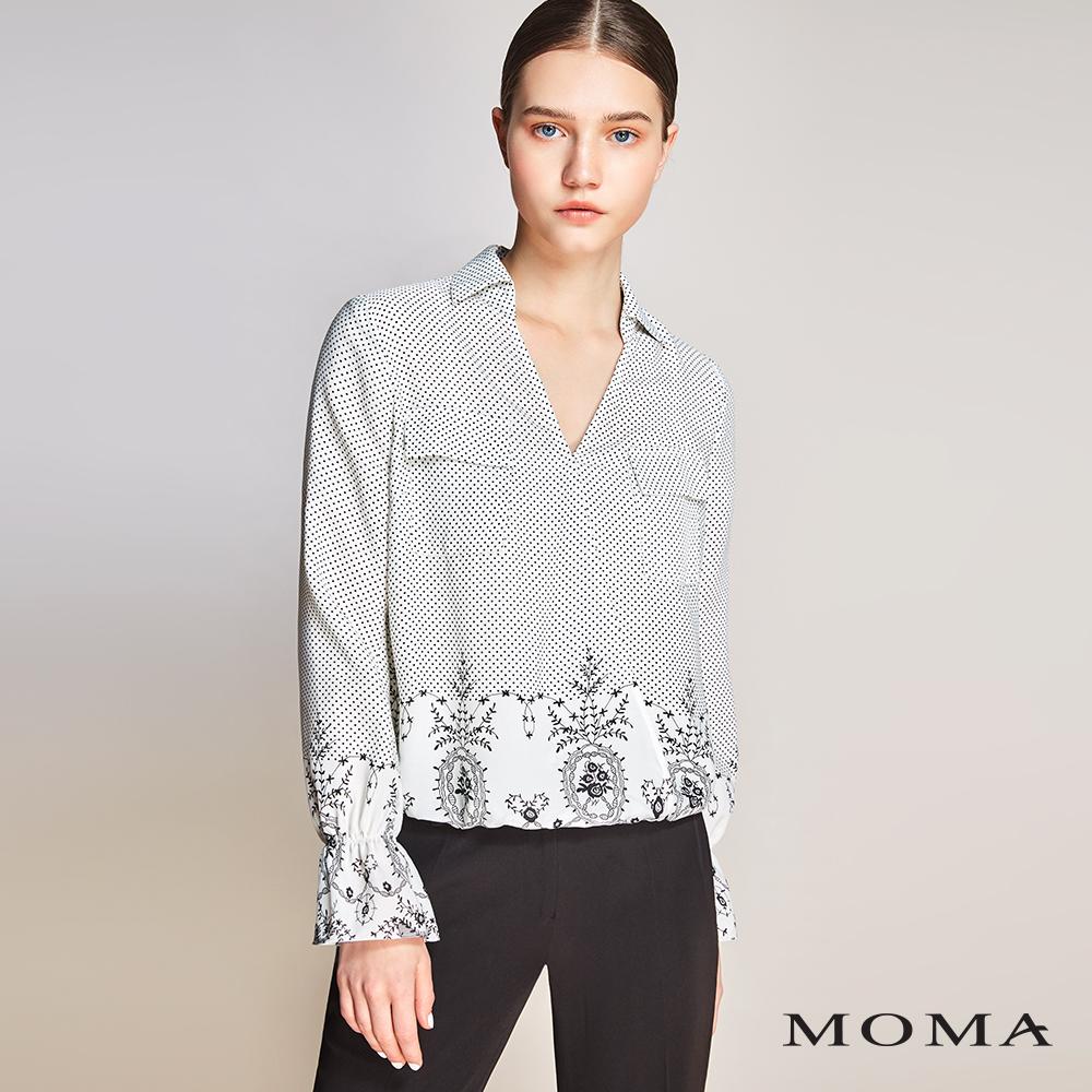 MOMA(01G008)前襟交叉印花上衣