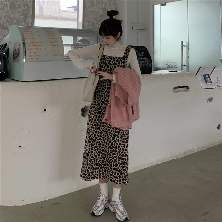 韓版復古百搭背心裙+甜美慵懶毛衣+高領純色打底