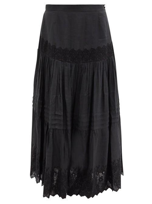 Mimi Prober - Kate Embroidered Organic-silk Maxi Skirt - Womens - Black